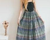 Vintage Indian Cotton 70s Skirt, Green Skirt, Hippie, Bohemian, Maxi Skirt
