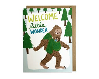 Funny Baby Card - Welcome Little Wonder, Welcome Little One, Big Foot