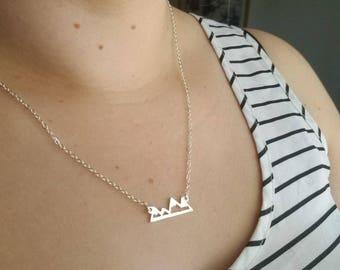 Mountain Necklace, Mountain Pendant, Mountain Charm, Mountain Jewelry, Mountain Range, Silver Mountains. Mountain Peak Jewelry, Mountain Top