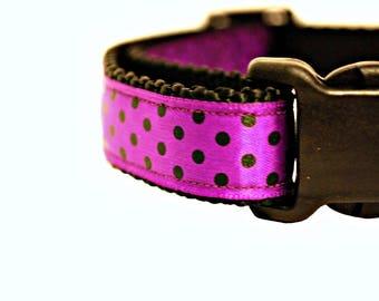 "Halloween Dog Collar, Purple Dog Collar, Polka Dots Dog Collar, Purple Halloween Collar, 3/4"" thick collar, breakaway collar"