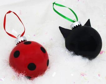 Inspired Ladybug and Cat Noir Christmas Ornaments Set, Geek Christmas Ornaments, LadyNoir, Chat Noir, Adrien Agreste, Marinette Dupain Cheng