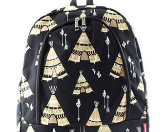 Teepee Print Monogrammed School Backpack Black Trim