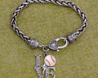 LOVE Baseball Rhinestone Charm Bracelet