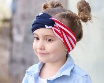 Stars & Stripes Twisted Turban Headband / Patriotic 4th of July Headband / USA Themed