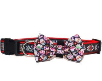 Sugar Skulls Dog Collar - Ready to Ship
