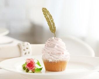 FEATHER glitter cupcake topper set of 12 - bohemian / boho theme party decor