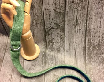 Dog Lead, Green & Teal, Cotton/lambswool knitted dog leash