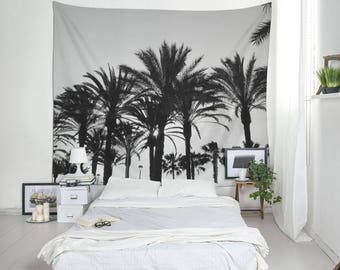 Black And White Tropical Tapestry, Palm Tree Art, Beach Tapestry, Tropical Decor, Summer Tapestry, Coastal Wall Art