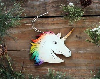 Unicorn Ornament, Personalized Ornament, Unicorn Decor, Hand Painted Ornament, Custom Ornament, Custom Unicorn Gift, Unicorn Christmas