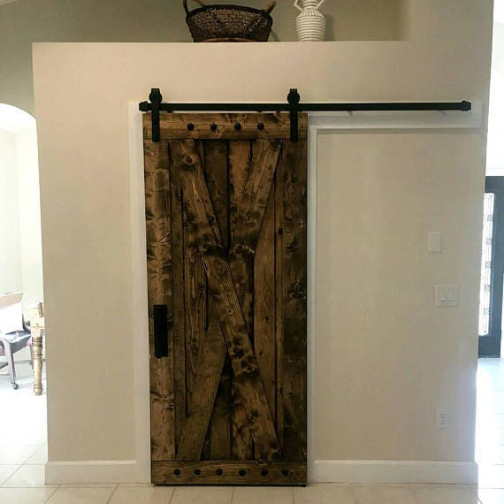 X Brace Barn Door - Sliding Wooden Door - Barn Door with Hardware - Farmhouse Style Door - Rustic Interior Barn Door - Barn Door Package