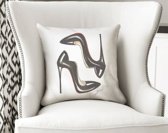 Fashion pillow, Heels pillow, Fashion throw pillow, Throw pillow, Fashion home decor, Home decor, Fashion illustration, Heels pillow cover