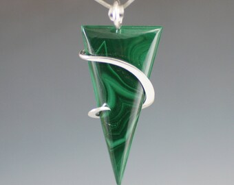 Malachite Triangle Cold Forged Sterling Silver Pendant
