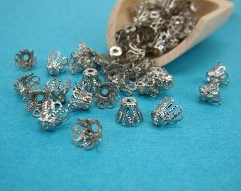 8.5x6.5mm filigree basket bead caps, platinum silver, 8x6mm silver bead caps, 8mm basket bead caps, 8mm filigree bead caps, 100 pack(2947sf)
