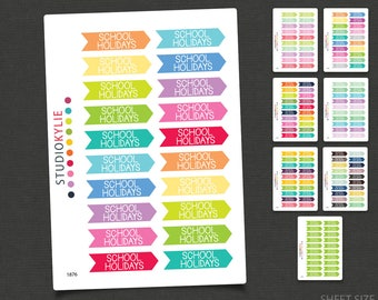School Holidays - Planner Stickers - Removable Matte Vinyl