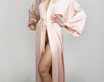 Vintage Silk Maxi Robe Soft Light Pale Pink Long Wide Sleeve Open Sexy Valentines Day Lingerie 1970s