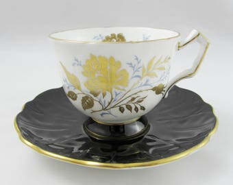 Aynsley Black and White Tea Cup and Saucer with Gold Flower, Vintage Bone China