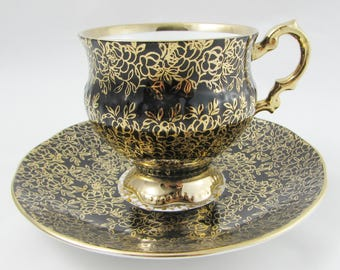 Vintage Tea Cup and Saucer, Black with Gold Chintz, Elizabethan Teacup, Fine Bone China