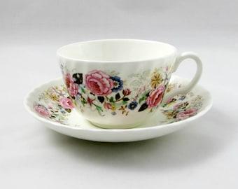 Minton Tea Cup and Saucer Rose Garland Pattern, Vintage Tea Cup, English Bone China, Teacup and Saucer
