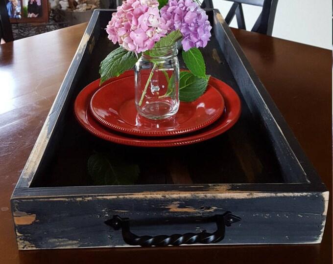 Farmhouse Tray, Ottoman Tray, Rustic Tray, Pallet wood Tray, 33 x 14 x 3 Large wood Tray, Serving Tray, Decor Tray, Wedding decor, Wedding
