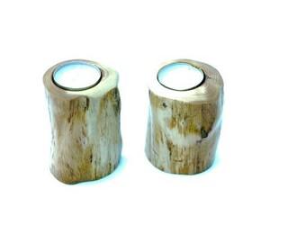 Set tea-light holders, Yew wood, Hand-turned, Natural finish