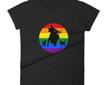 lesbian Motorbikes and cats By Bent Sentiments - 100% ladies fit tee lesbian interest gay pride tee t shirts LGBT gifts clothing art