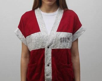Vintage sporty vest buttons down casual women waistcoat vest 80s apparel old school wear