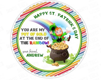 """St Patrick's Day Printable Tags-Happy St Patrick's Day-D.I.Y Tags-Leprechaun-Rainbow-Pot of gold- Personalized Stickers (You Print) 2.5"""" tag"""
