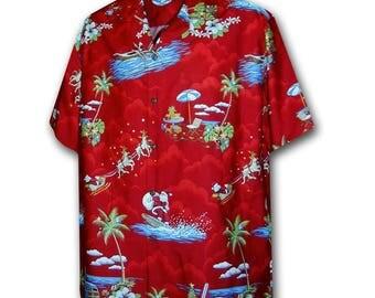 Santa's Classic Christmas Red Pacific Legend Hawaiian Aloha Shirt 442-3650