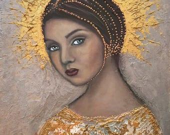 "Original painting on wood ""Eyes are the window to the soul"" Angel Portrait Study III by Deborah Bowe"