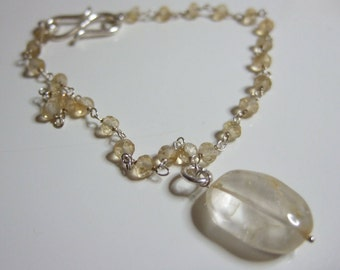 "Citrine, November's Birthstone, Sterling Silver Rosary Chain 7' or 7.5"" Bracelet with Citrine Nugget"