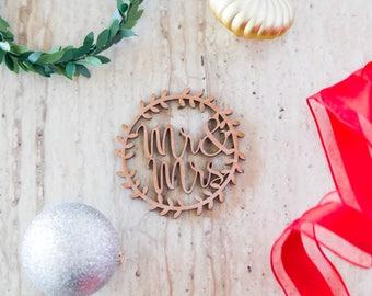Mr & Mrs Wedding Christmas Ornament