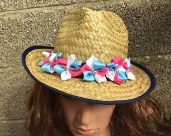 SALE OOAK Straw Cowboy Hat with Transgender Flowers