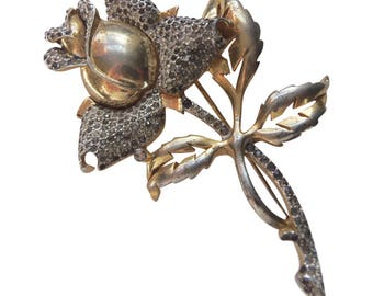 Mazer Gold Wash And Rhinestone Rose Brooch/Pin Vintage 1940 Floral Pin Rhinestone Pin Bridal Pin