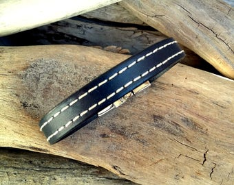 Leather bracelet for Man, navy blue leather, Boho jewelry, By Dodie