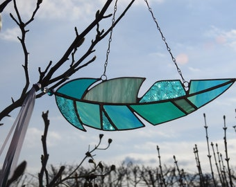 """Stained Glass Feather Sun Catcher,Mixed Teal,Copper Patina Finish,Window Art,Angel,Suncatcher,Memorial,Birthday/ Easter Gift, 10""""x 3"""""""