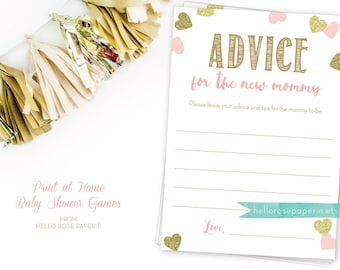 Printable Advice for the New Mommy Cards . Pink and Gold Baby Shower . Instant Download . Digital File Download . Baby Girl Shower Games