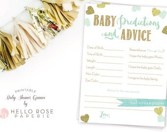 Baby Predictions and Advice . Baby Prediction Cards . Mint and Gold Baby Shower Printable . Instant Download .Girl Boy Twin Baby Shower Game