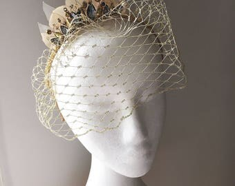 Gold and grey birdcage veil, alternative wedding veil, races headpiece, vintage style birdcage fascinator headband by Blue Lily Magnolia
