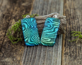 Fused Glass Dangle Earrings / Blue / Aqua/ Silver/ Black/ Dichroic/ Psychedelic / Trippy Jewelry/ Handmade Jewelry/ Unique Gift/ Handmade