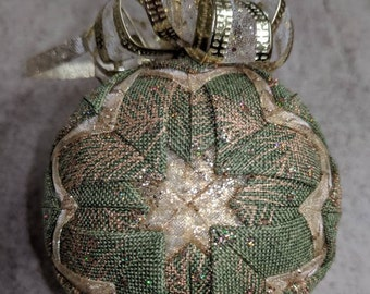 Green and Gold Quilted Ornament