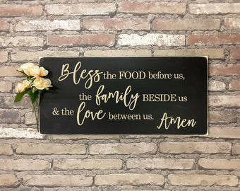 Bless the food before us | Wood Sign | Carved