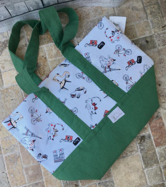 Paris Cats Canvas Tote Bag,Paris Canvas Tote,Tote Bag Canvas,Tote Bag with pocket,Project Bag Knitting,Project Bag Crochet,Toad Hollow Bags