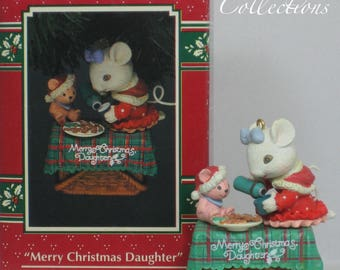 Enesco Merry Christmas, Daughter Ornament Mouse Tea Party Doll Treasury of Christmas Teacup Tea Pot Picnic Basket Mice Vintage HTF