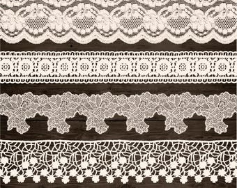 Ivory Lace Clipart. Shabby, Rustic Lace Overlays. Wedding Lace Border Clip Art. Bridal Shower, Wedding Clipart. Vintage Cream Seamless Lace.