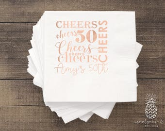 50th Birthday Party Cheers Napkins   social graces and Co
