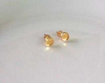 Citrine stud earrings 14Kt gold-filled; citrine stud earrings gold; small citrine stud earrings; round citrine stud earrings
