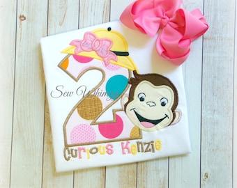 Monkey Birthday shirt- Girl Monkey shirt- Birthday shirt- Girls applique monkey shirt- Monogram Monkey shirt- Custom shirt- Monkey- Girl