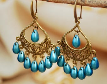 Teardrop gypsy earrings, music festival jewelry, flamenco style blue drop earrings, summer boho bronze earrings, exclusive Estibela design