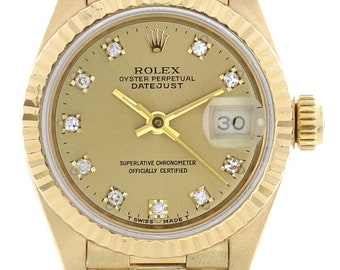 Ladies Rolex Oyster Perpetual Datejust 69178G 18k YG Diamond Dial