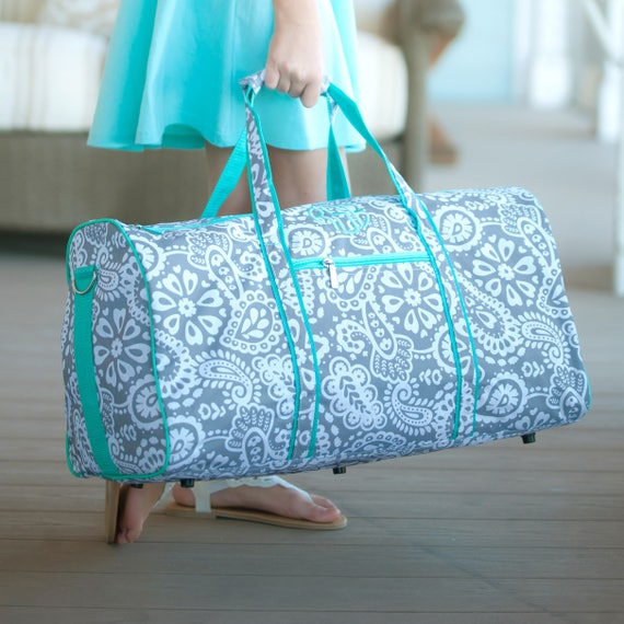 Monogrammed Duffle Bag Grey Paisley Duffel Bag Paisley Overnight Bag Monogrammed Gifts Gifts for Girls Gifts for Teens Personalized Gifts